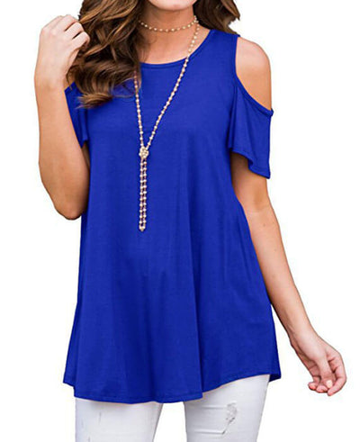 Cold Shoulder O-Neck Casual Short Sleeve T-Shirts