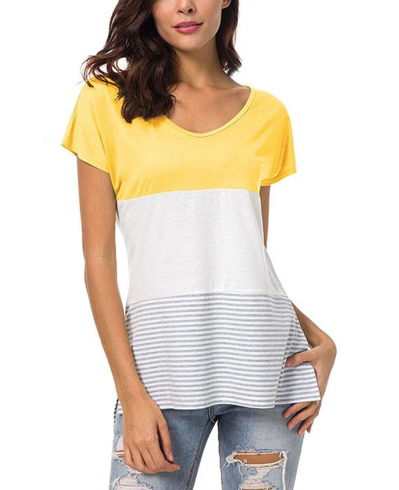O-Neck Stitching Striped Short Sleeve T-Shirt
