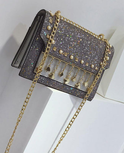Sequined Rivets Tassel Trendy Shoulder Messenger Bag