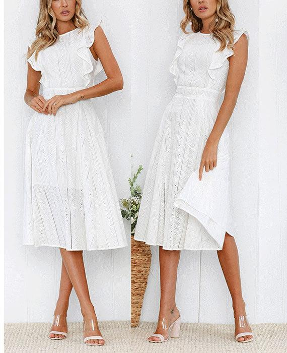 Lotus Lace Sleeveless Midi Dress