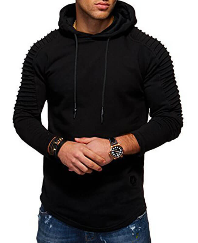 Pleat Hem Curved Cool Hoodies