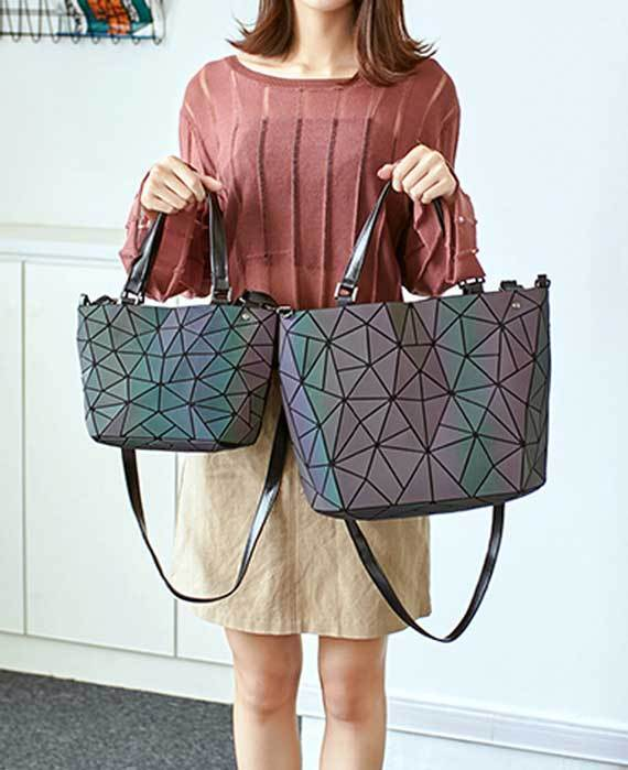 Geometric Holographic Luminous Messenger Bag