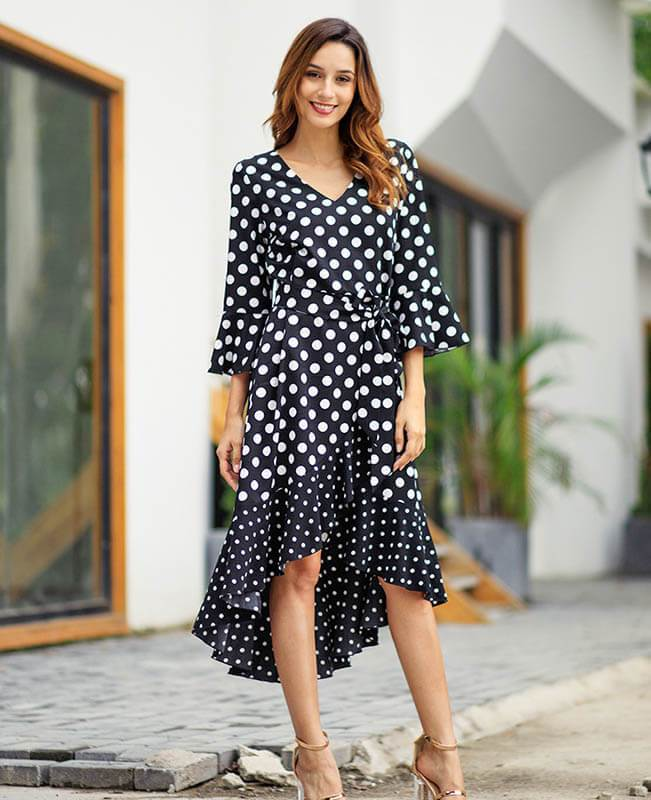 A-Line Asymmetric Polka Dot Dress