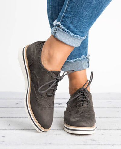 Ankle Flat Suede Lace Up Shoes