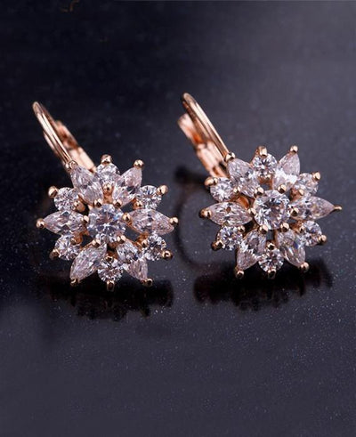 Luxury Champagne Gold Flower Stud Earrings