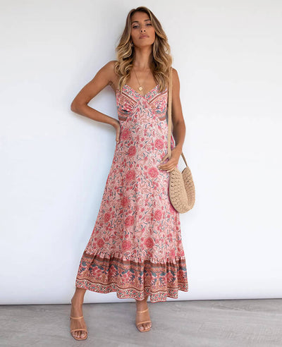 Bohemian Style Floral Printed V Neck Patchwork Dress