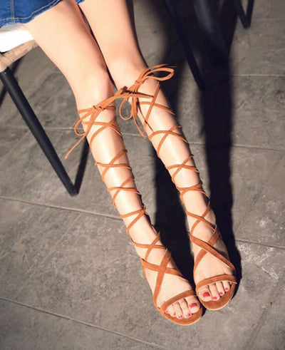 Bandage Lace Up Knee High Sandals Boots