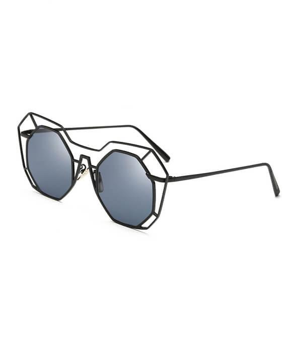 Big Mirror Sunglasses UV400 Pilot Hollow Out Sun Glasses