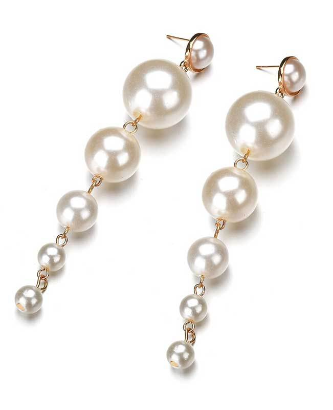 Big Simulated Pearl Drop Earrings