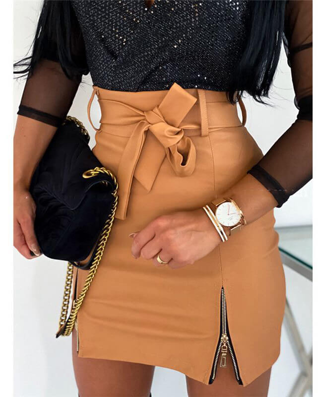 Black Leather Mini Short Skirts For Women