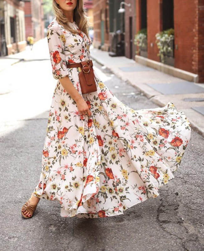 Floral Print Long Maxi Beach Dress