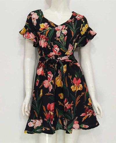 Boho Style Deep V-Neck Flare Sleeve Floral Printed Dress
