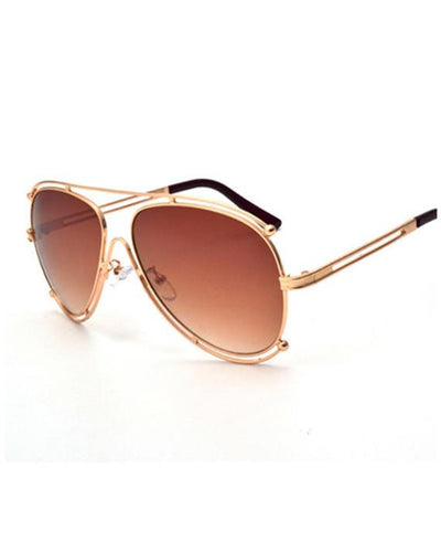 Classic Luxury Pilot Sunglasses Hollow Out Metal Frame Sun Glasses