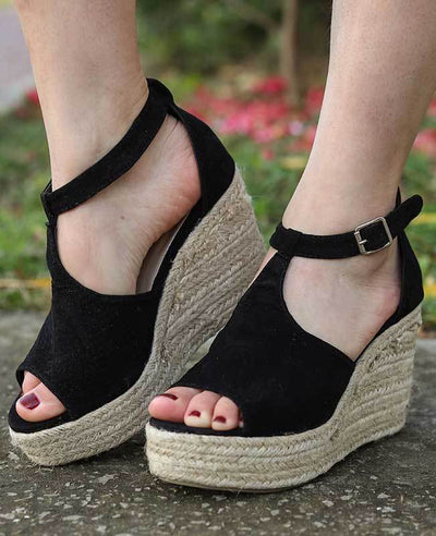 Buckle Platform Wedge Sandals
