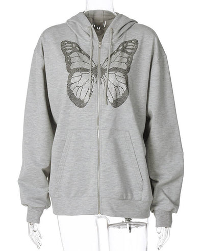 Butterfly Womens Zip Up Hoodies