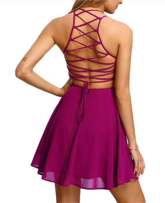 Cross Lace Up Backless Spaghetti Strap Short Skater Dress