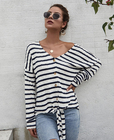 Casual Stripes Bow Tie Shirt Knit Tunic Blouse