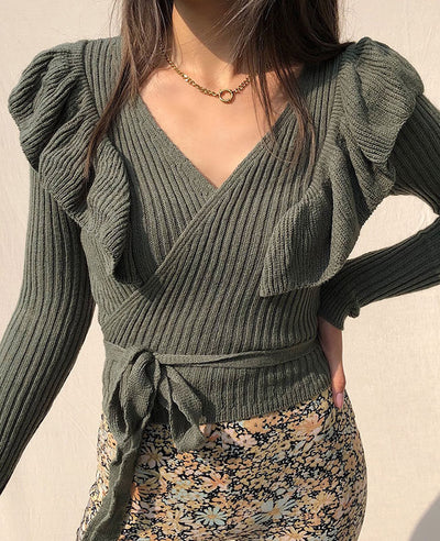 lace up front rib sweater