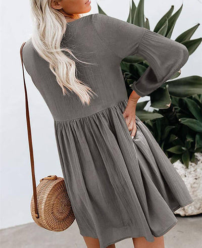 Casual Long Sleeve Short Dress