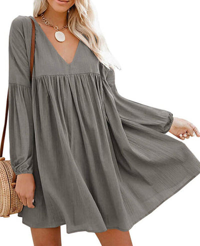 gray Casual Long Sleeve Short Dress