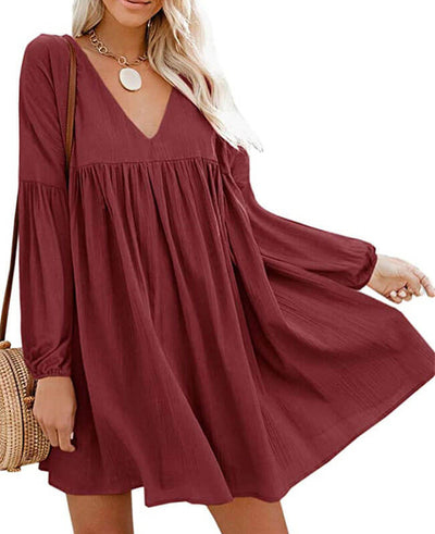 wine red long sleeve mini dress