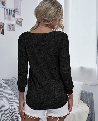 Casual V Neck Sweater for Women Off the Shoulder Sweater