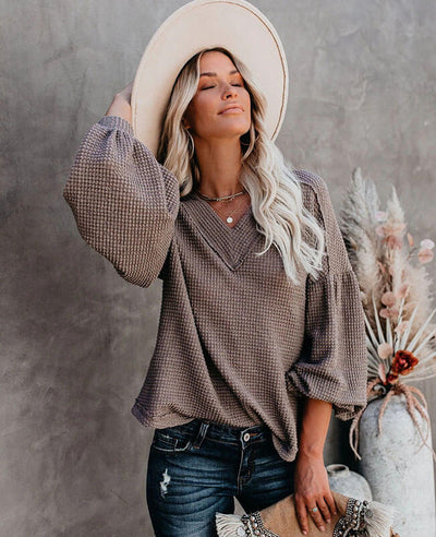 Casual V Neck Waffle Knit Sweater