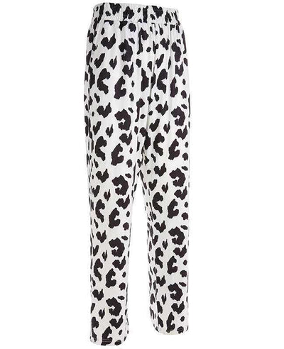 Casual Elastic High Waist Milk Cow Print Pants