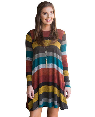 Casual Loose Long Sleeve Striped Dress-10