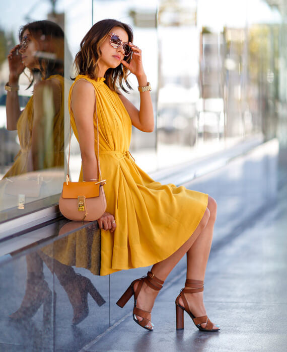 Casual Sleeveless Short Mini Dress Yellow1