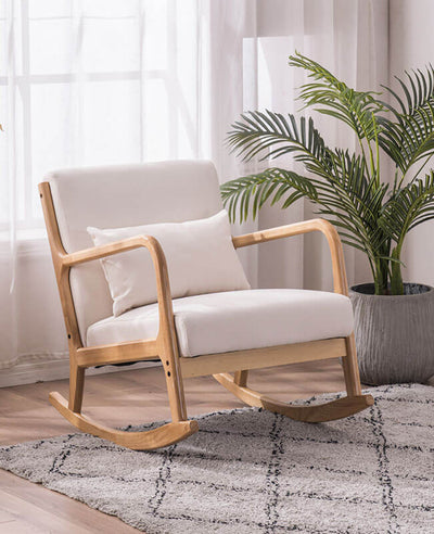 Oak Rocking Chair With Ottoman Sofa Lounge Chair Set
