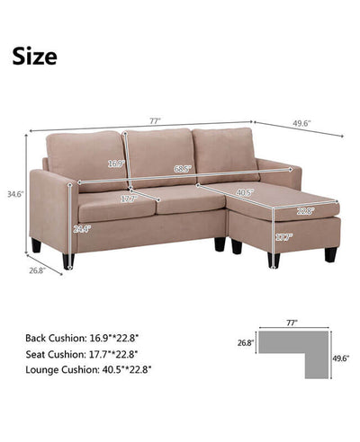 Sectional Sleeper Couch Chaise Sofa Bed With Ottoman