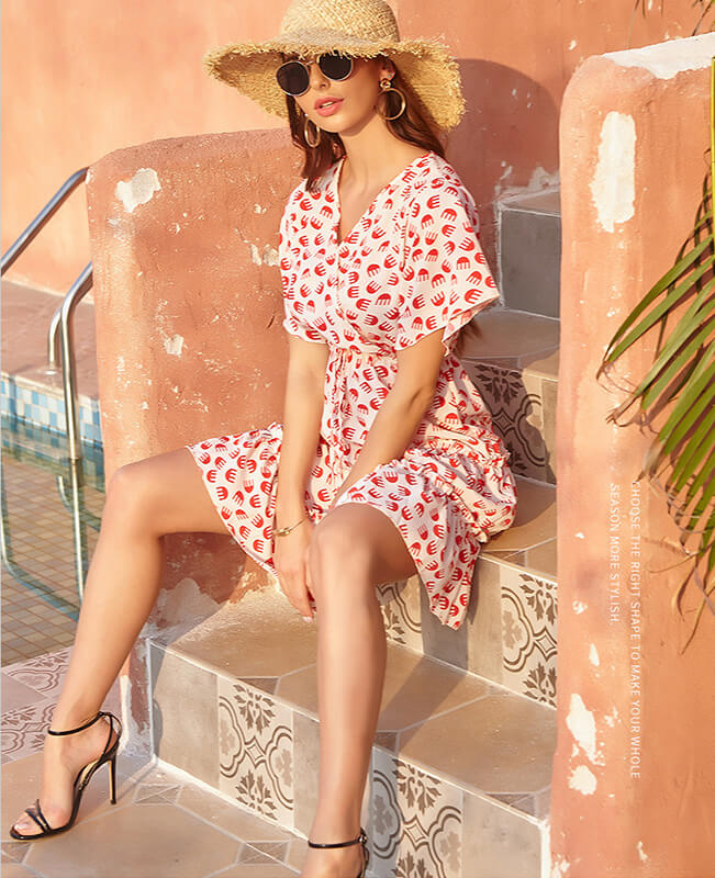 Floral Print Elegant Beach Dress