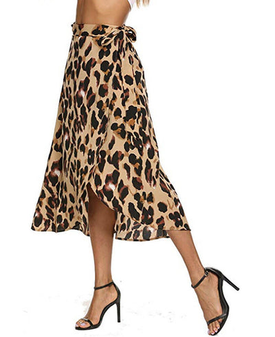 Chiffon Leopard Print Skirt for Women