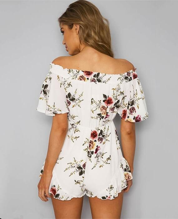 Off Shoulder  Floral Overalls Jumpsuit Beach Shorts