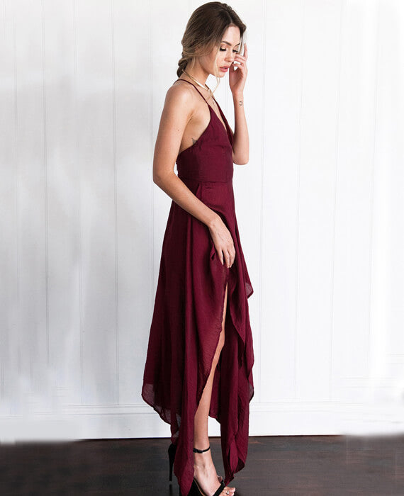 Spaghetti Strap Cold  Maxi Shoulder Dress
