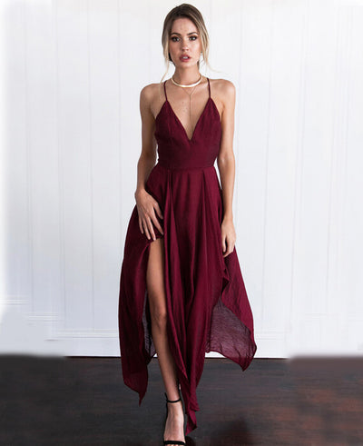 Chiffon Sleeveless Strip Irregular Hem Maxi Dress