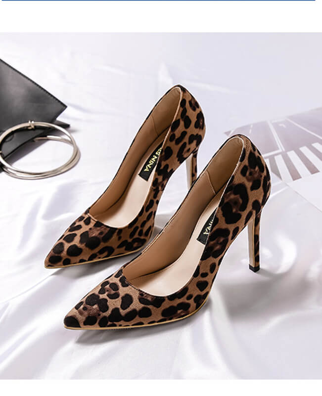 Comfortable Pointed Toe Leopard Heel OL Leopard Print Pumps