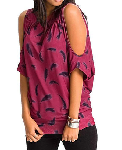 Cut Out Sleeve Feather Print Blouse T-Shirt