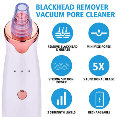 Deeply Blackhead Remover Pore Vacuum Cleaner with 5 Porbes