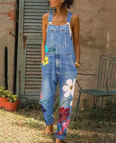 Denim Overalls for Women Floral Embroidered Jeans