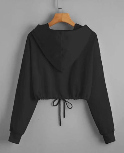 Drawstring Crop Top Butterfly Hoodie