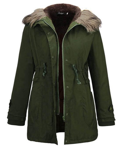 Womens Parka Coats with Fur Hood-2