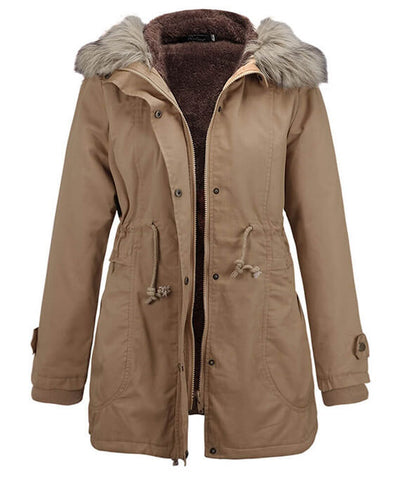 Womens Parka Coats with Fur Hood-1