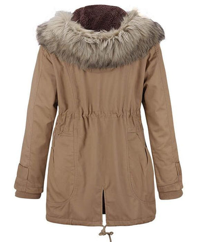 Womens Parka Coats with Fur Hood-5