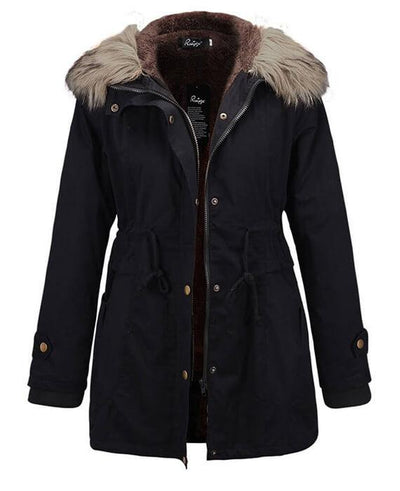 Womens Parka Coats with Fur Hood-3
