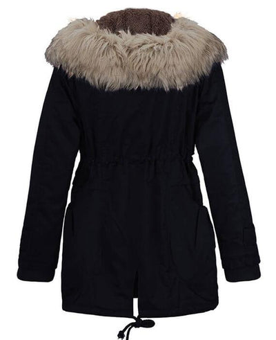Womens Parka Coats with Fur Hood-6