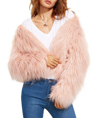 Faux Fur Long Sleeve Pink Jackets-1