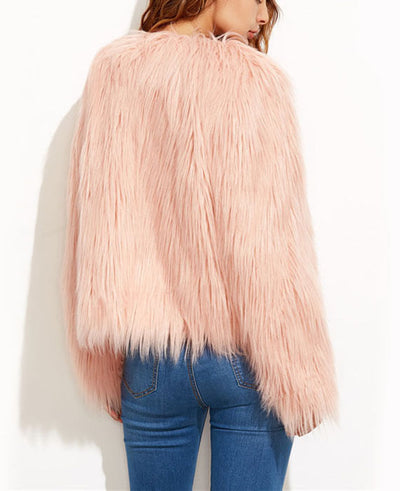 Faux Fur Long Sleeve Pink Jackets-2
