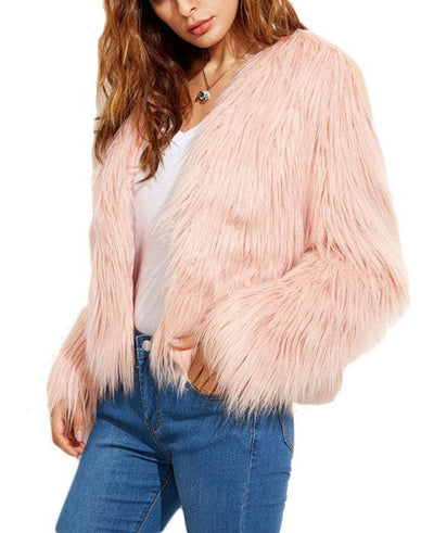Faux Fur Long Sleeve Pink Jackets-3